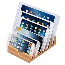 icozzier 6 slots bamboo charging station stand amazon co uk