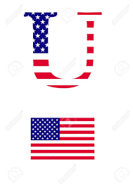 American Flag In Text The Letter U In The Form Of American Flag Royalty Free Cliparts