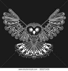 Patterned Flying Owl Drawing Illustration Zentangle Stylized Flying White Owl Stock Vector 303271409