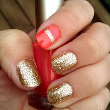 paint your nails gold then place a strip of tape across your
