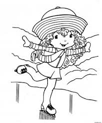 printable cartoon strawberry shortcake skating coloring pages