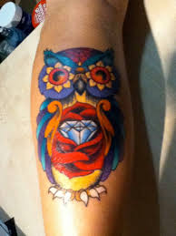 owl sitting watercolor tattoo real photo pictures images and