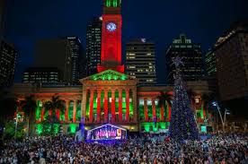 lighting of the tree in king george square in front of