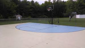 Backyard Basketball Hoops Concrete Basketball Court In Maine