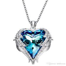 swarovski heart necklace blue images Wholesale 925 silver chain bling blue crystal pendant necklace jpg