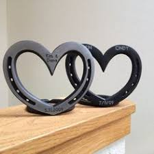 personalized horseshoes standing heart personalized horseshoe steel or iron 6th wedding