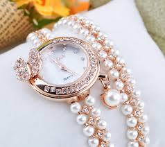 rose pearl bracelet images Diamond pearl bracelet watch women with butterfly pendant design jpg