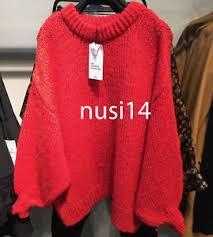 strawberry sweater zara sweater with puff sleeves strawberry s m ref 6771 001