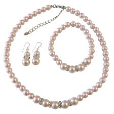 bridal pearl necklace sets images Pearl jewelry set bridal bridsemaid faux pink pearl necklace jpg