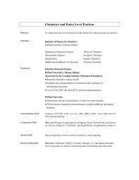 Sample Chemistry Resume by Entry Level Chemist Resume Enwurf Csat Co