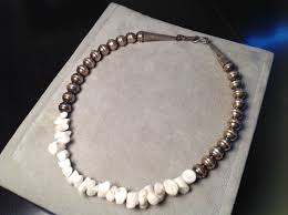 white pearl beaded necklace images Vintage native american sterling white coral navajo pearl bead JPG