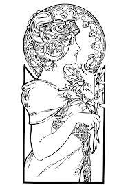 free coloring page coloring femme art nouveau a beautiful