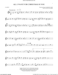 all i want for christmas is you sheet music for clarinet solo by