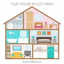 design a house free house with interior view and furniture in flat design vector