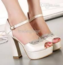 wedding shoes thick heel rhinestone fox mask bridal heels white heel ivory shoes