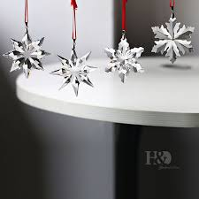 set 4 clear glass snowflake ornament gift