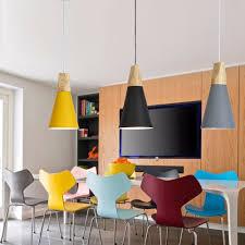 Esszimmer Beleuchtung Moderne Holz Pendelleuchten Lamparas Bunte Aluminium Lampenschirm