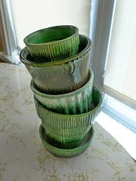 Vintage Flower Pots - vintage mccoy pottery u2013 green planters the new collector