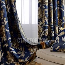 Gold And Blue Curtains Vintage Navy Blue Polyester Jacquard Floral Pattern Blackout