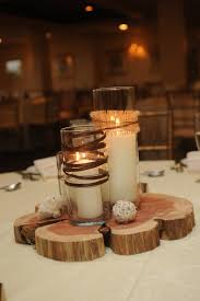 wood slice coffee table centerpiece with different height candles