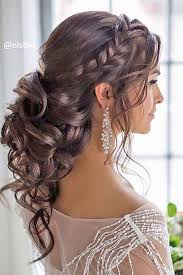 barrel curl ponytaol braided loose curls low updo wedding hairstyle low updo updo and