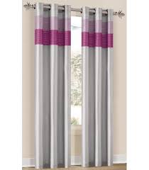 Grommet Window Curtains Bedding Chelsea Silver Pink Fuschia Grommet Window Curtain Panel