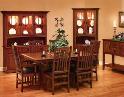 classic dining room with wooden mission style furniture pieces