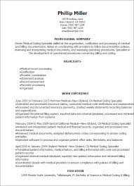 Internal Resume Examples by Professional Medical Coding Specialist Resume Templates To