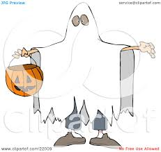 clipart illustration of a halloween trick or treater in a white