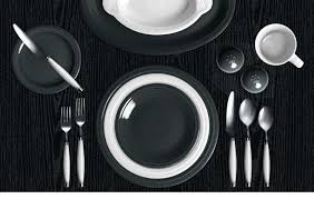 dramatic fiesta dinnerware in slate and white using color