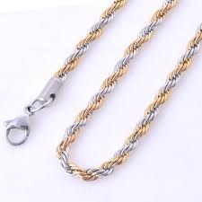 silver gold chain necklace images 2 3 4 6mm 45 66cm vintage stainless steel rope chain necklace jpg