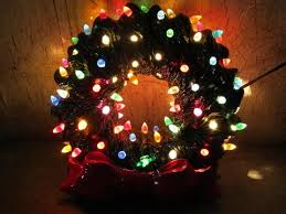 to find electric light up ceramic wreath 70s vintage