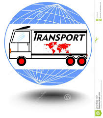 emblem with a truck on a globe background for transport activities
