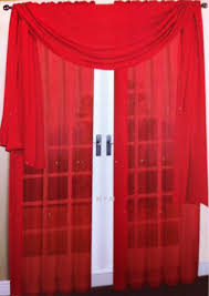 amazon com 3 piece red sheer voile curtain panel set 2 red