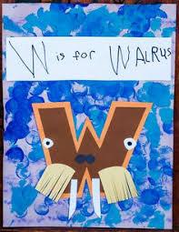 w is for walrus handprint pic letter w pinterest