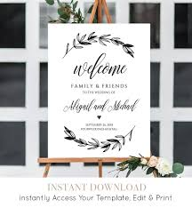 wedding welcome sign template wedding welcome sign template printable poster 100 editable