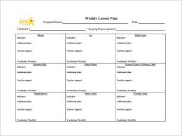 weekly lesson plan template u2013 10 free sample example format