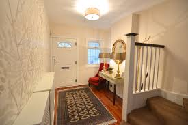 1930s House Interior Design by Interesting Hallway Decoration With Floral Wall Paper Combined