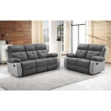 antrim grey faux suede fabric recliner collection with leather