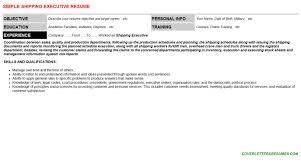 executive curriculum vitae shipping executive cover letter u0026 resume