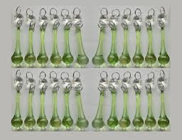 Glass Crystal Chandelier Drops 24 Sage Green Chandelier Drops Glass Crystals Droplets Prisms Chic