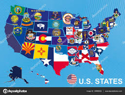 usa map alaska usa map with flags of states on blue background with alaska and