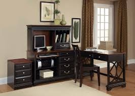 I Shaped Desk by Furniture Black Wooden L Shaped Desk With Hutch And Drawer Plus