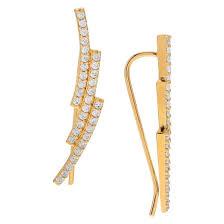ear pin 1 3 ct t w cut cubic zirconia ear pin pave set earrings in