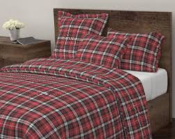 plaid duvet cover etsy