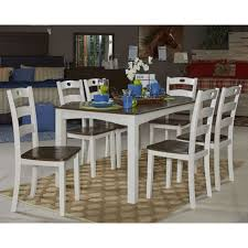 signature design by ashley woodanville white brown 7 piece dining signature design by ashley woodanville white brown 7 piece dining room table set goedekers com