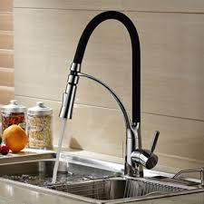 Black And Chrome Finish Kitchen Sink Tap Deck Mount Pull Out Dual - Kitchen sinks taps