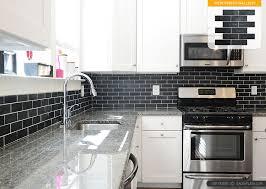 Black Subway Tile Kitchen Backsplash White Cabinet New Caledonia Granite Black Slate Backsplash Tile1 I