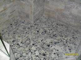 master bathroom renovation after installed marble tile on the