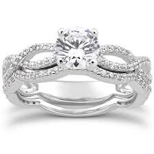 engagement and wedding ring set pave engagement wedding ring set 14k white gold 1 00ct